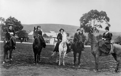 This group of lady riders appear in the only photograph known from a show held at Burra Victoria Park (1894-1908).